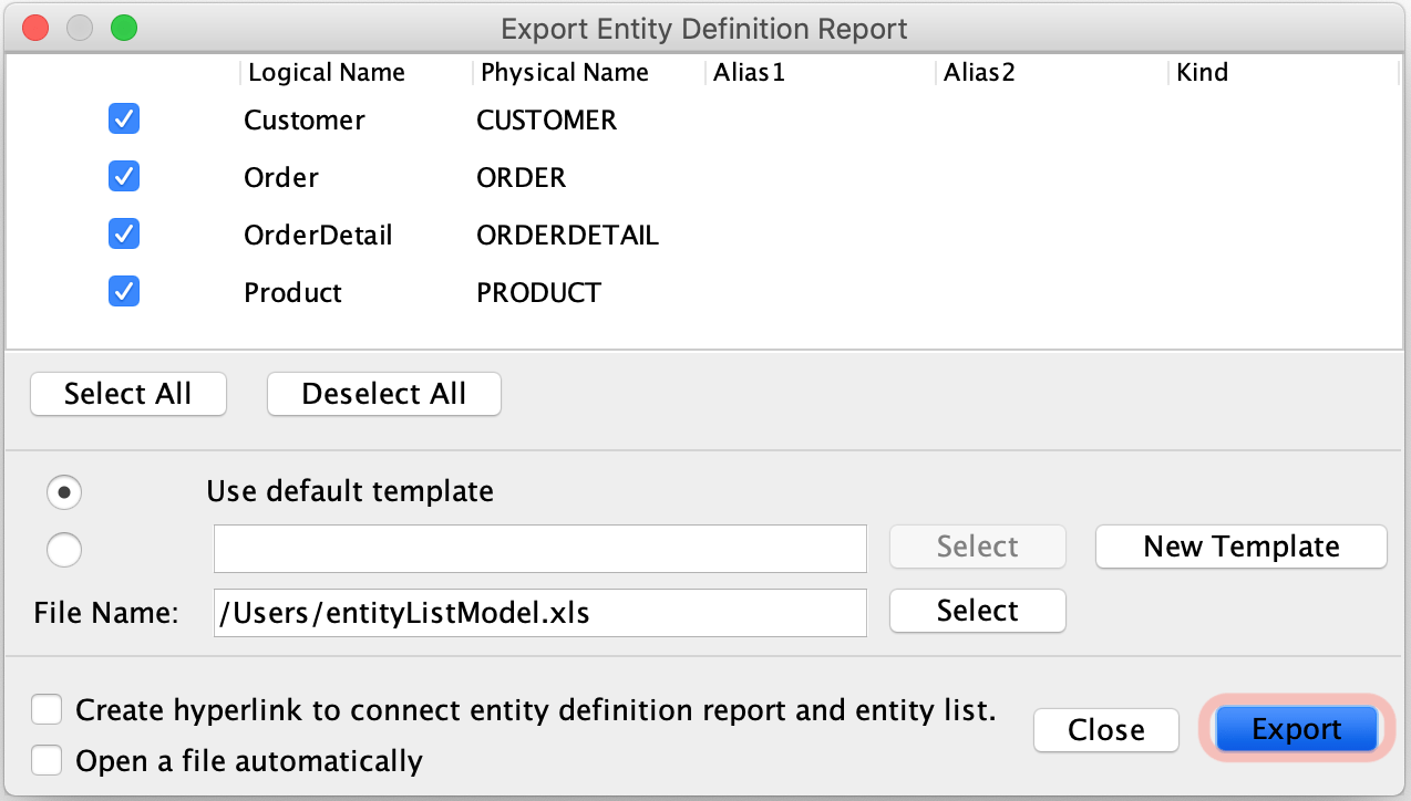 Export Entity Definition Report