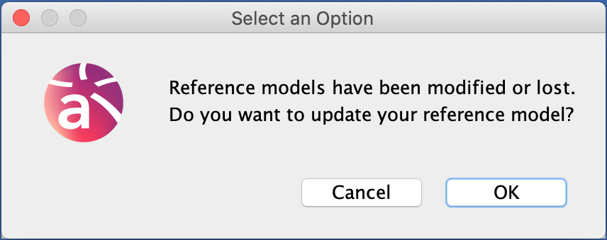 Warning when a reference model is updated