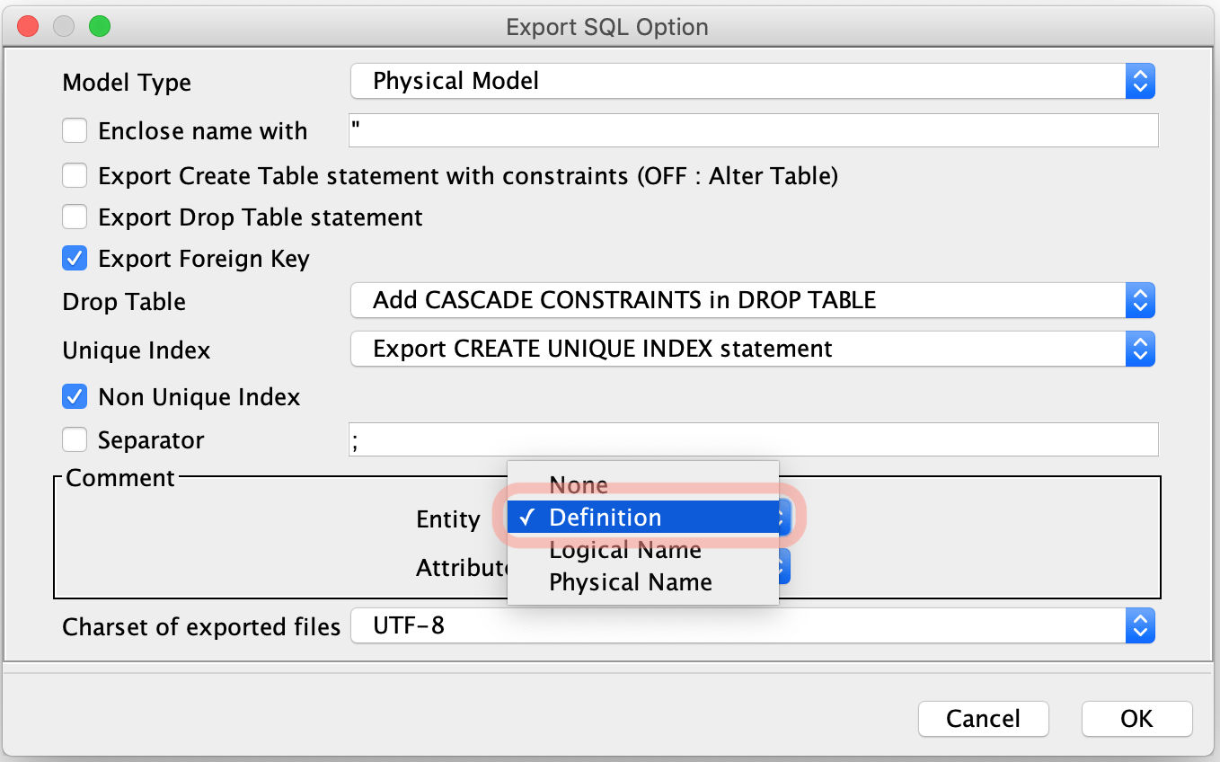 SQL Export Option