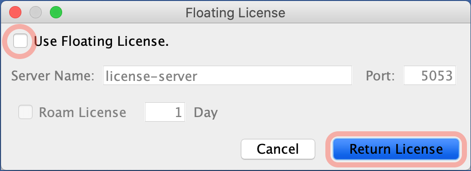 Returning Astah Floating License