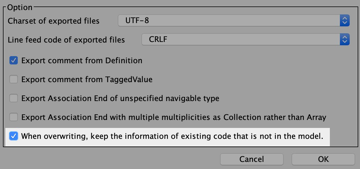 Export-Java-option