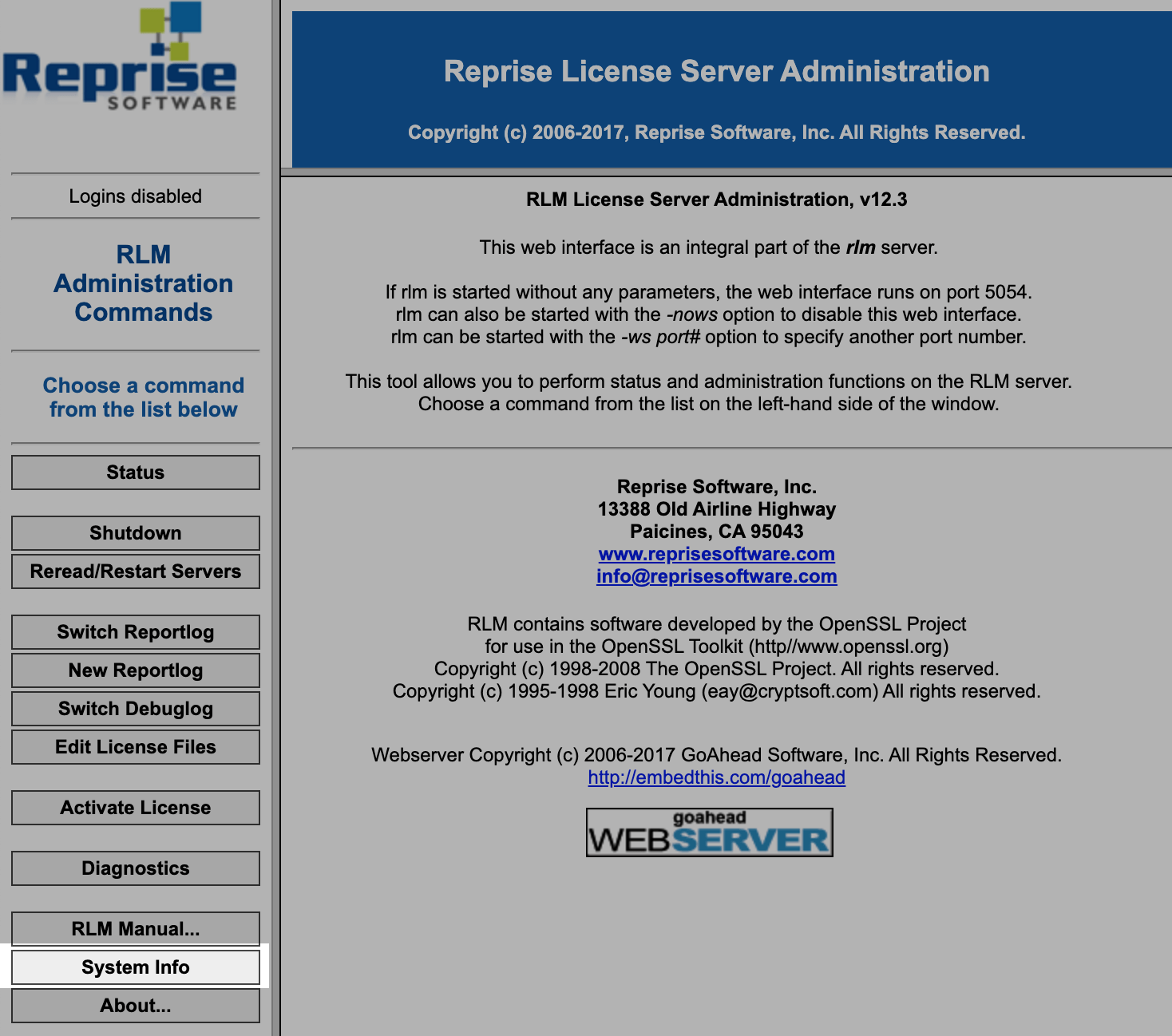 RLM Web System Info