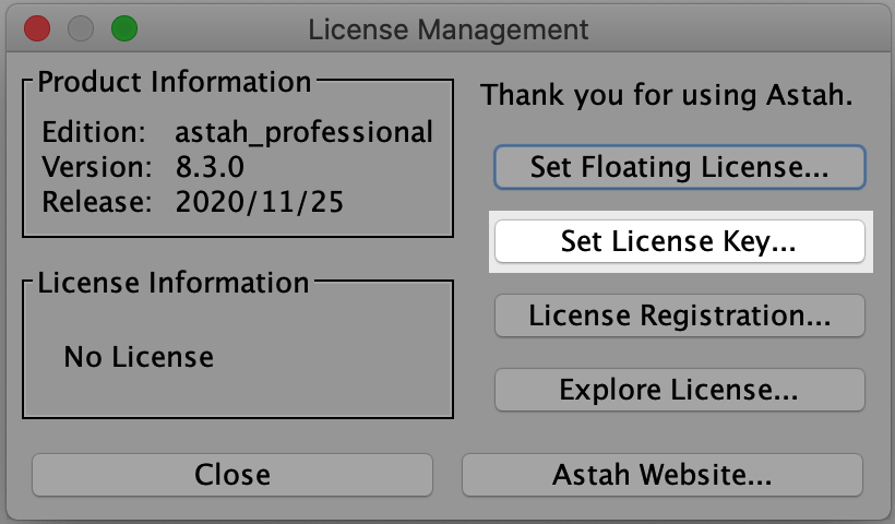Set Astah License