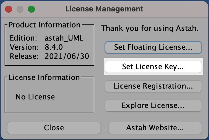 Astah UML License Setup