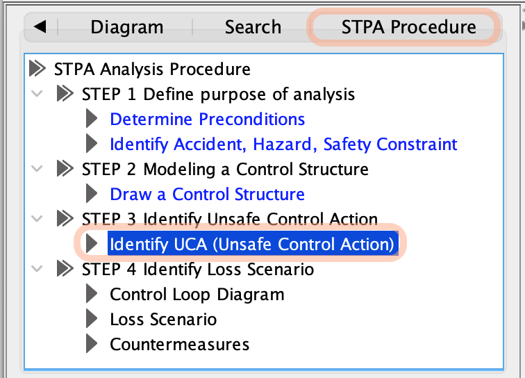 Create Unsafe Control Actions Tab