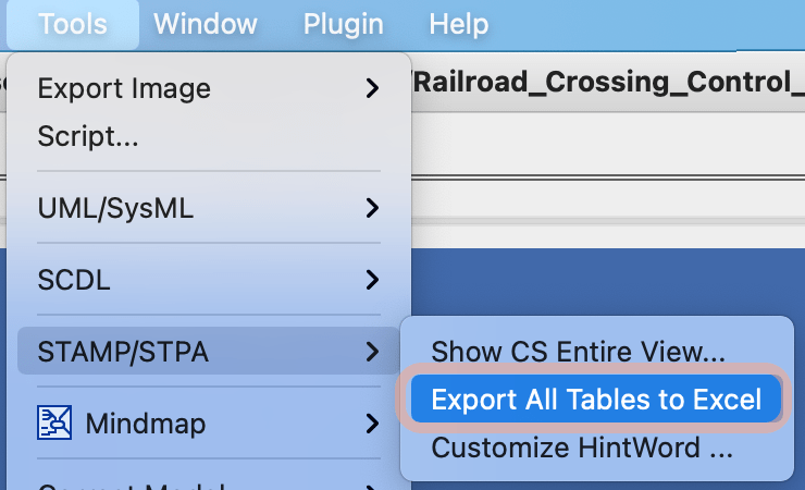 Export STPA documentation to Excel