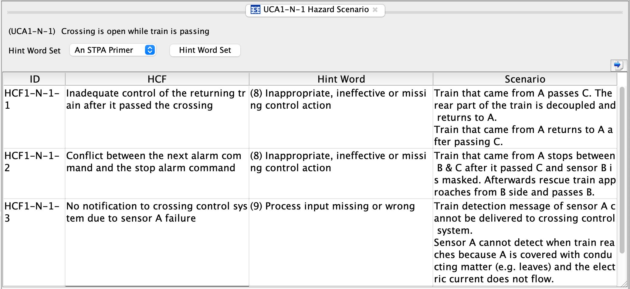Loss scenario sample