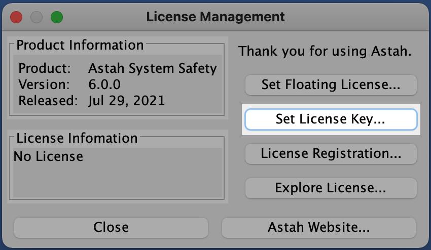 Astah System Safety License Setup