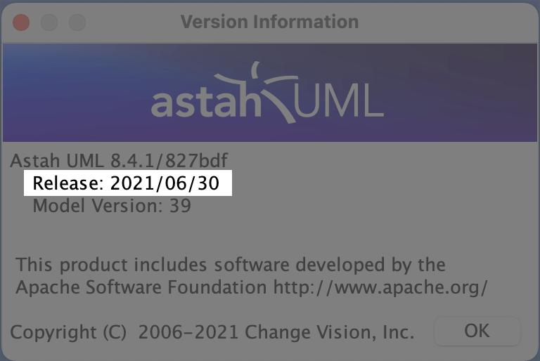 Astah UML version 8.4.1 Release Date